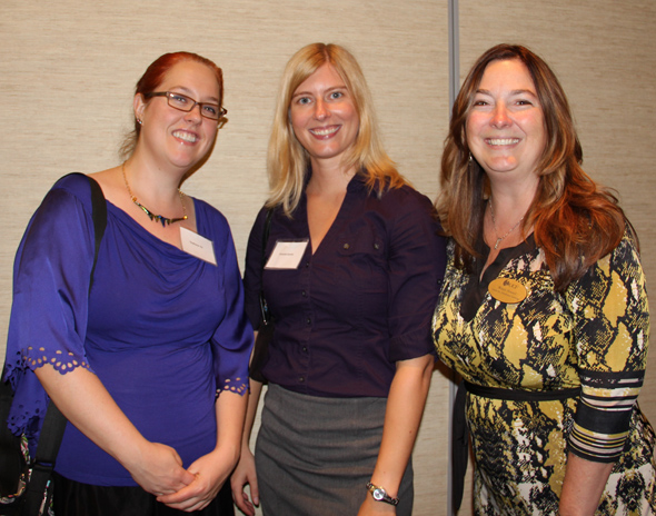 Fall 2014 New Women Faculty Reception L to R:  Stephanie Vie, Amanda Anthony and Wendy Howard