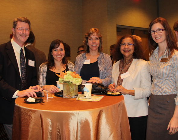 Fall 2014 New Women Faculty Reception L to R:  Michael Sigman, Jacquelyn Chini, Cherie Yestrebsky, Talat Rahman, Erin Saitta