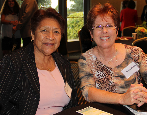 Fall 2014 New Women Faculty Reception L to R:  Norma Ledesma and Marcy Galbreath