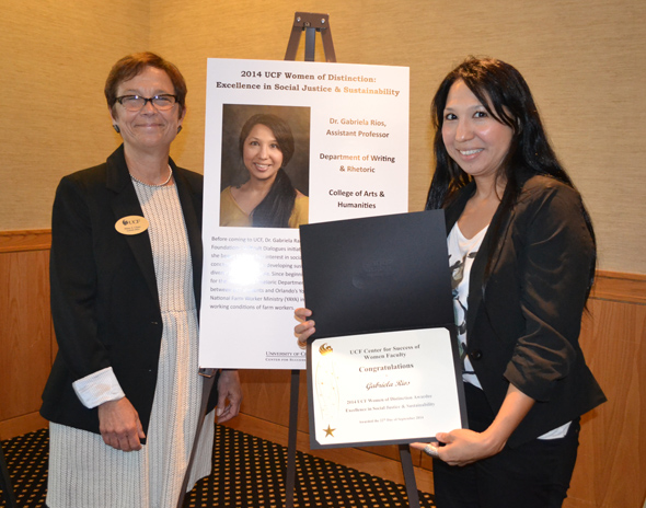 Fall 2014 Women of Distinction Award. L to R:  Diane Chase, Executive Vice Provost and Pegasus Professor and Gabriela Rios (Awardee)