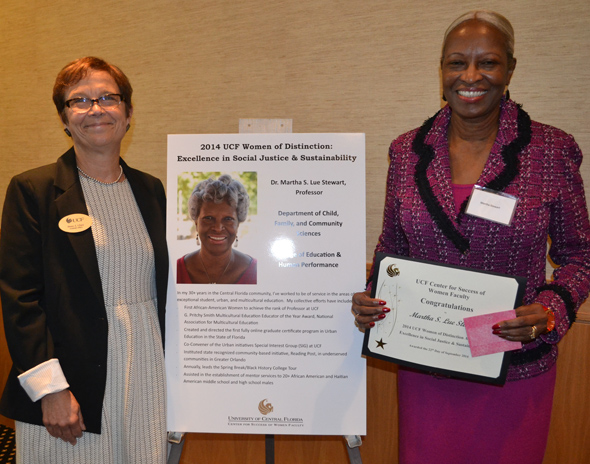 Fall 2014 Women of Distinction Award L to R: Diane Chase, Executive Vice Provost and Pegasus Professor and Martha S. Lue Stewart (Awardee)