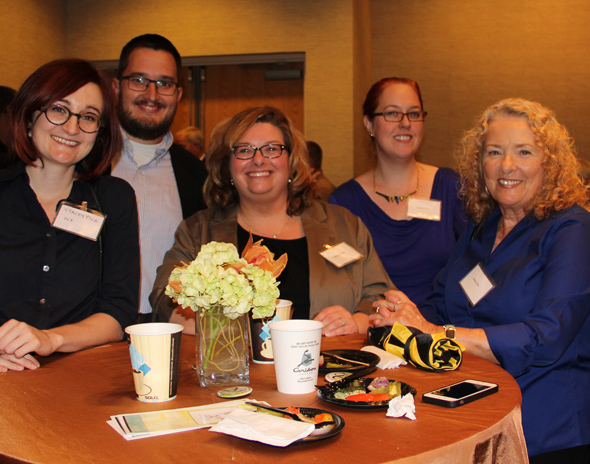 2014 Fall New Women Faculty Reception L to R: Stacey Pigg, Rudy McDaniel, Melody Bowdon, Stephanie Vie and Kathleen Bell