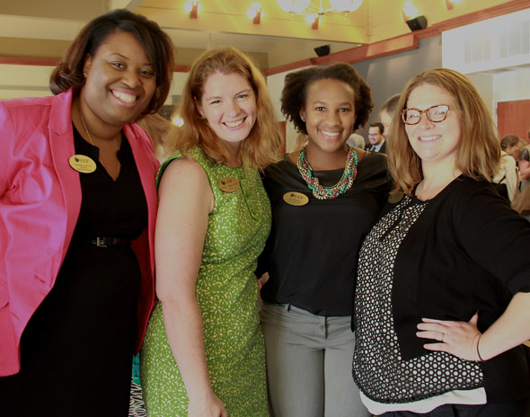 2015 President Hitt's New Women Faculty Reception, L to R:  Edwanna Andrews, Stacey Malaret, Tava Bingham, Haley Winston