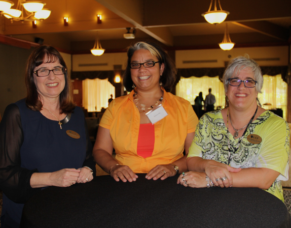 2015 President Hitt's New Women Faculty Reception, L to R:  Jackie LaManna, Desiree Diaz, Julie Hinkle