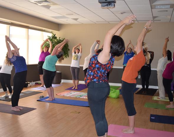 Yoga class lead by Deirdre Englehart