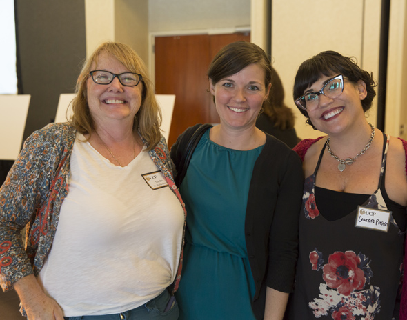 2016 New Women Faculty Reception:  L to R Martha Brenckle, Laurie Pinkert and Leandra Preston-Sidler