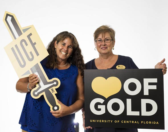 Left to Right: Dr. Linda Walters, Director, UCF Center for Success of Women Faculty & Fran Ragsdale, Administrative Assistant, UCF Center for Success of Women Faculty...CHARGE ON!